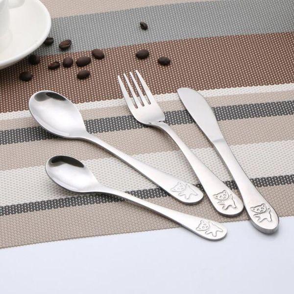 Children Cutlery Set Stainless Steel Kids Knives Forks Food Tableware Cartoon Bear Dinnerware Sets Wholesale ZC1141