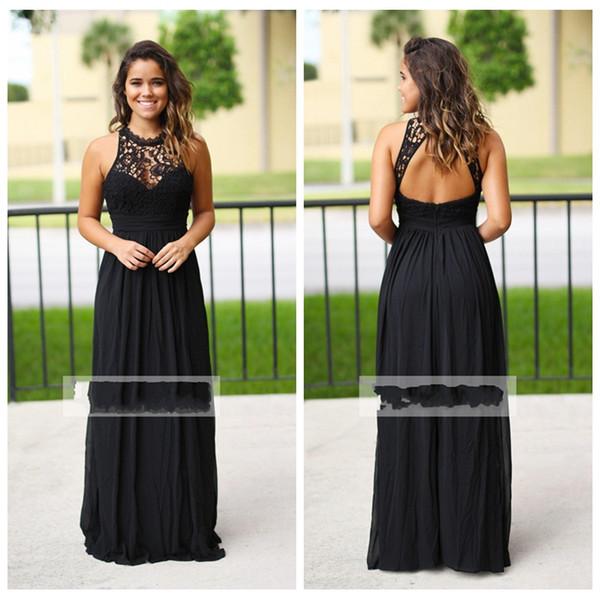 Compre Vestidos De Dama De Honor De Gasa Negro Largo Y Atractivo 2019 Vestido De Dama De Honor De País De Encaje Barato Vestido De Dama De Honor De