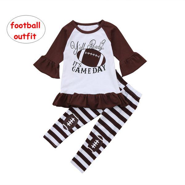 Grosshandel Kleinkind Baby Outfits Infant Madchen Ruschen Armel Tops Fussball Streifen Hose 2 Stucke Set Fruhling Herbst Kleidung Von Us Baby 7 04