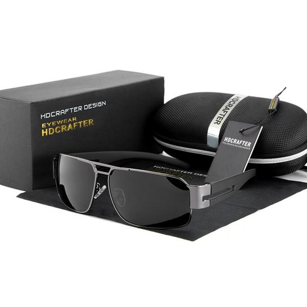 Hot!HDCRAFTER Latest design Polarized men's Coating Sunglasses alloy frame Anti-Glare driving fishing ultraviolet-proof Sun glasses,Gift box