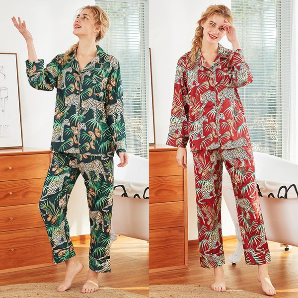 Женщины с длинным рукавом пижамы с длинным рукавом женщины атласная пижама эмуляции шелковые пижамы набор женский печати ночная рубашка