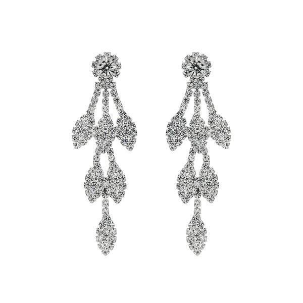 2019 Fashion Leaf Full Crystal Women Long Drop Earrings Wedding