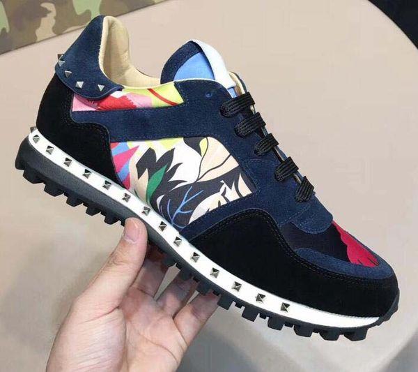Nuevos zapatos Moda Camuflaje relleno Zapatos casuales Calzado Hombres Mujeres Pisos Diseñador de lujo Zapatillas Rockrunner Zapatillas casuales 010