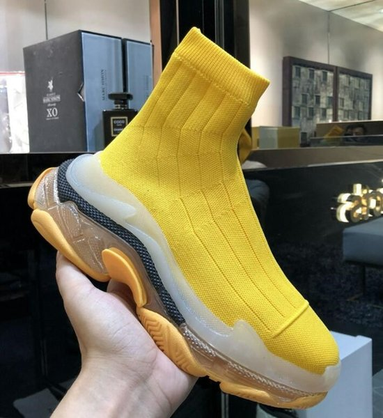 2019 new designer men\'s women\'s speed trainer brand socks shoes blue and Nude yellow sequins flat fashion men\'s casual shoes 13
