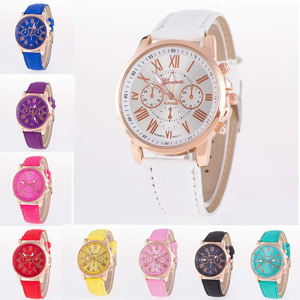 best selling Unisex Luxury Geneva PU Leather Quartz Watch Men Women Fashion Roman Numerals Analog Colored Wristwatches Casual Dress Wrist Watches 15color
