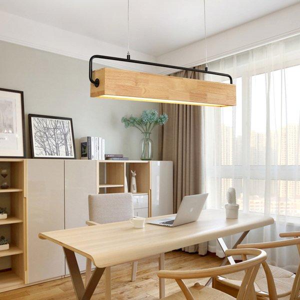 Acheter Japon En Bois Led Pendentif Luminaire Moderne En Metal Tige Suspension Lampe Style Nordique Salle A Manger Restaurant Cafe Eclairage Interieur