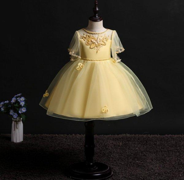 Drop Ship 2019 Nuevo Sleevelss Imprimir Vestidos de cumpleaños para niñas pequeñas Vestido Fiesta Fiesta Princesa Elegante Vestido de raya Vestido de bola