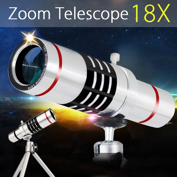 wholesale 18x Zoom Optical Telescope Telephoto Lens Tripod Clip Kit Universal Phone Camera Lens for iPhone for Samsung Mobile Phone