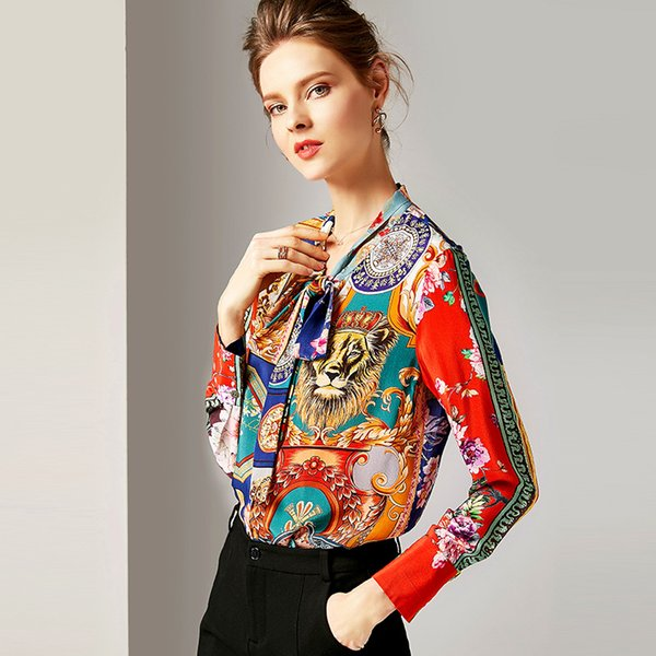 2019 Early Spring Women's New Fashion Ribbon Long-sleeved Silk Blouse Printed Mulberry Silk Blouse & Shirt