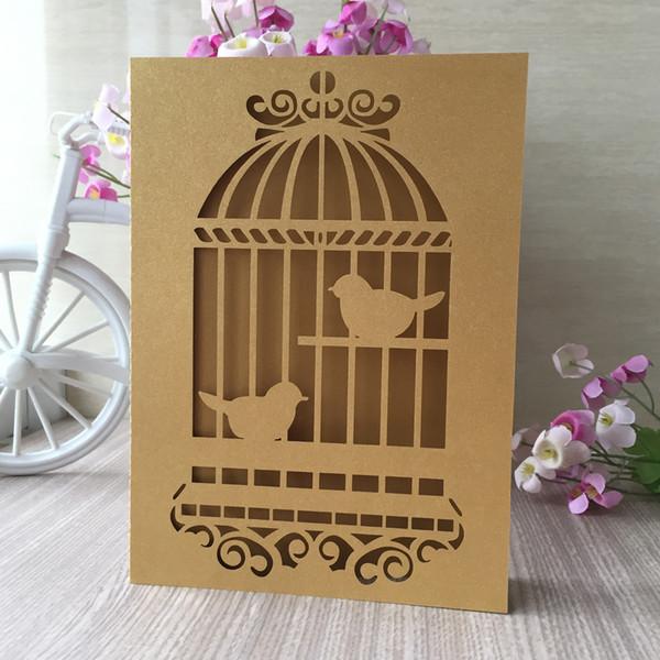 Compre Chamagine De Lujo Jaula Pájaros Invitación De La Boda Decoración Fiesta De Cumpleaños Cena Bendición Saludo Matrimonio Tarjeta De Aniversario A