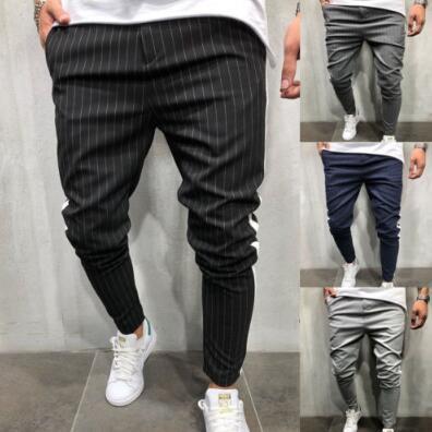 Mens Jogger Pantalon De Mode Nouveau Stripe Urbain Droit Pantalon Décontracté Slim Fitness Long Pantalon Taille S-3XL