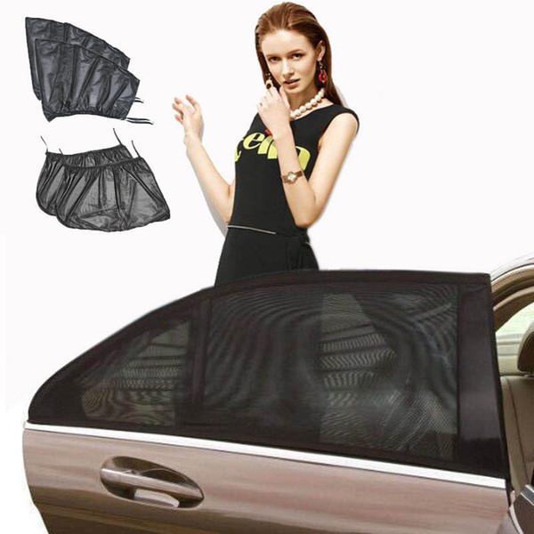 top popular Auto Sunshade Net Curtain Portable Cover Type Car 2Pcs Black Shield UV Mesh Fabric Car Window Heat Insulation Translucent Summer 2021