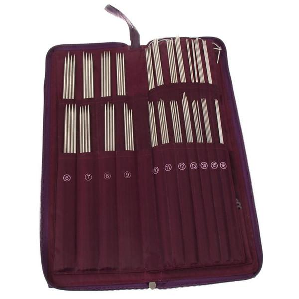 104pcs in acciaio inox ferri da maglia dritto uncinetto tessuto set 20 diverse dimensioni ferri da maglia circolari