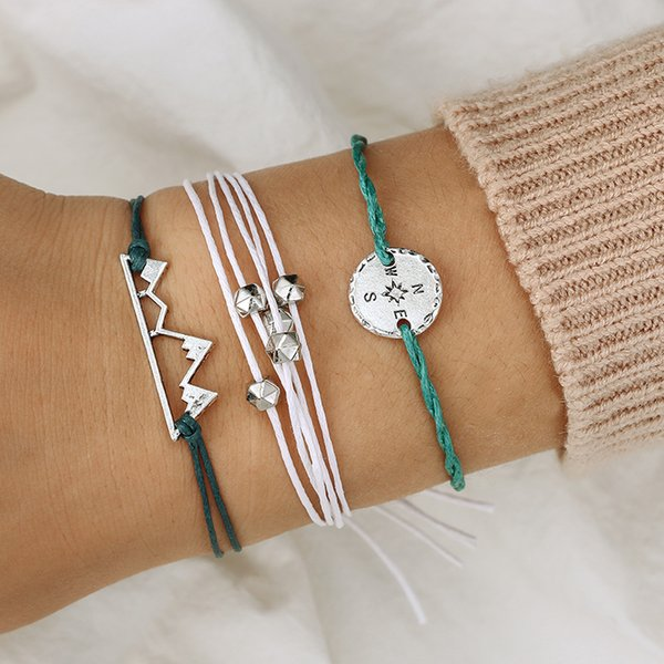 Trendy Compass Mountain Braided Rope Bracelets Set For Women Girl Flower Charms Yoga Anklet Bohemian Wristband Jewelry