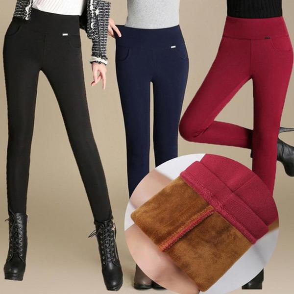 Yüksek Kadın Bel Kalem Pantolon Polar / hayır Polar Sıcak Pantolon Kadın Kadife Pantolon Büyük Boyutları Beyaz Siyah Streç Tayt