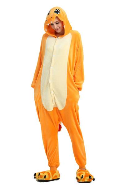 Cartoon Orange Fiery Dragon Pajamas for Adults Long Sleeves Hooded Unisex Home Wear Mascot Costumes Sleep Wear Night Party Wear Warm