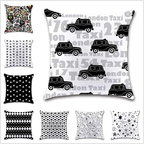 Black and white gemtric cartoon Cushion Cover Decoration Home office sofa chair car seat Decor friend bedroom gift pillowcase