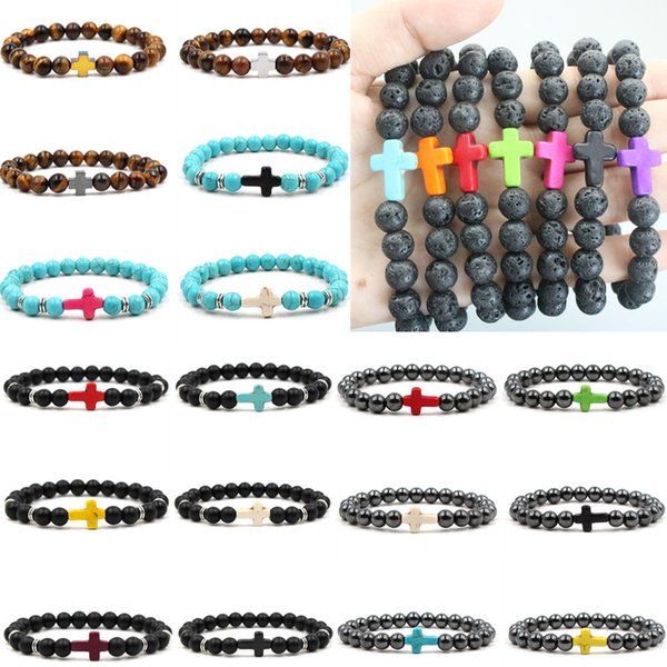 Newly Bracelets Factory Price Lava Rock Cross Bracelets Turquoise Frosted Stone Tiger Eye Natural Stone Bangles For Women & Men Gift K6104
