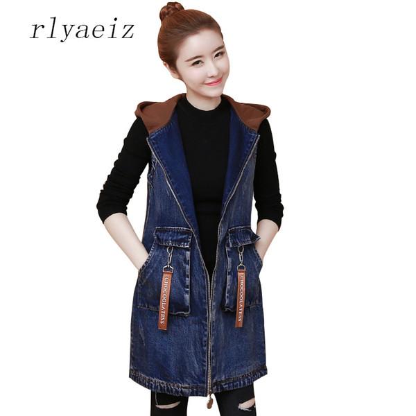 Rlyaeiz Spring Autumn Denim Women's Vest England Style Pockets Women Middle Long Sleeveless Zipper Jeans Jackets Waistcoat Vests