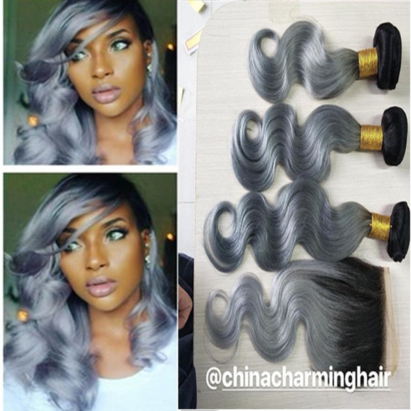 1B Grey Brazilian Ombre Human Hair Bundles With Silver Grey Lace Closure Two Tone Colored Hair Weave With Closure Body Wave