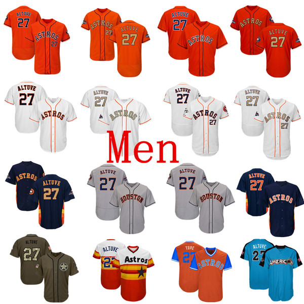 Трикотажные изделия для бейсбола Mens Astros 27 Jose Altuve Jersey Темно-синий Белый Оранжевый Серый Серый Золотисто-зеленый Салют