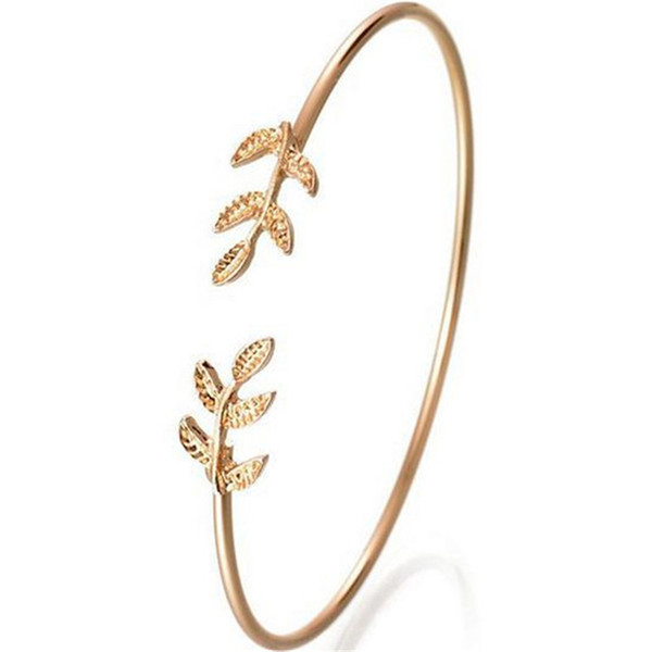 New Fashion Silver Gold Color Leaf Open Bangles&Bracelets For Women Stylish Leaves Cuff Adjustable Bangle Punk Jewelry