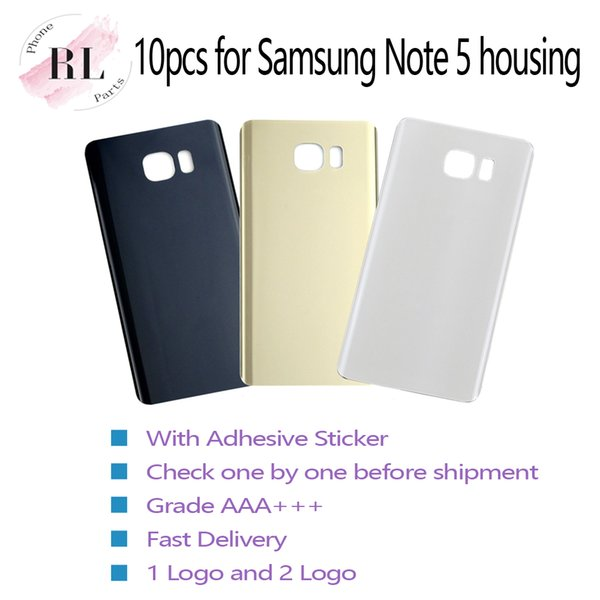10pcs Glass Battery Door Back Cover Housing + Adhesive Sticker For Samsung Galaxy Note 5 N920F N920A N920T N920V (single or double logo)