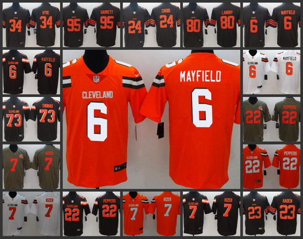 info for d1aa8 0370f 2019 Cleveland Mens Browns Playey Jersey #6 Baker Mayfield 34 Carlos Hyde  22 Jabrill Peppers 95 Myles Garrett Women Youth Limited Jerseys From ...