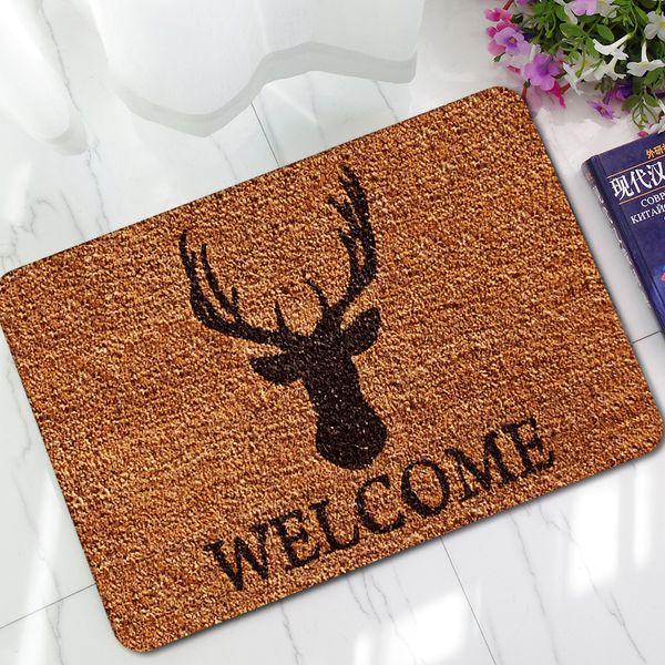 Welcome Mats for Front Door Kitchen Floor Mat Cartoon Printed Rubber Anti-Slip Bath Foot Carpet Home Decor Mat Rugs Washable