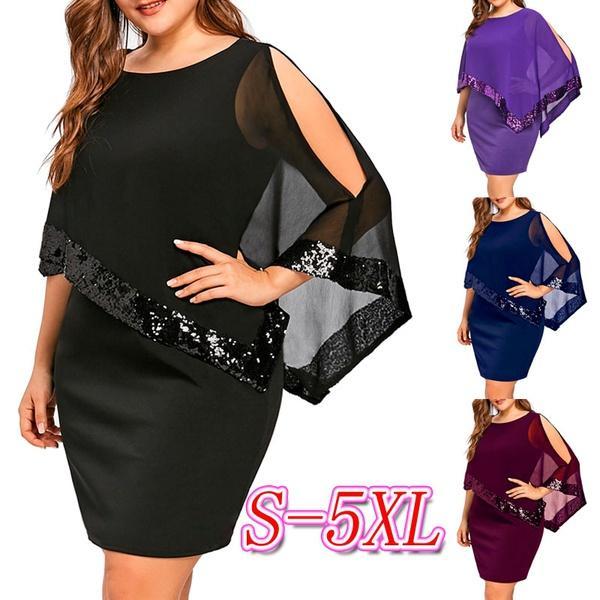 Robe de soirée asymétrique à grande taille avec empiècements en dentelle à la mode féminine