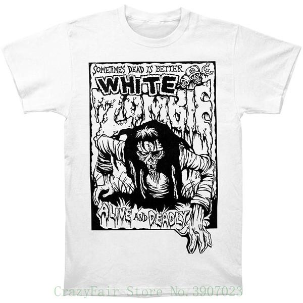 T-Shirt Deadly Alive White T-shirt bianca da uomo di Zombie T-shirt da uomo con stampa manica corta o collo