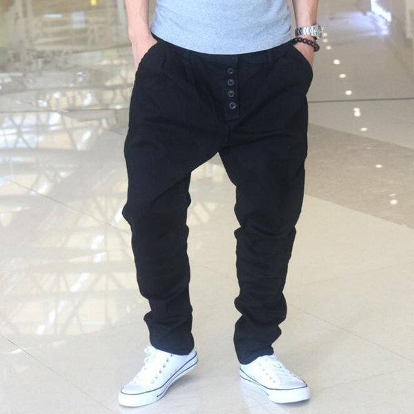 2017 Mens Baggy Jeans Pantalones Botón Diseñador Casual Harem sueltos pantalones gota entrepierna algodón negro hombre pantalones envío gratis