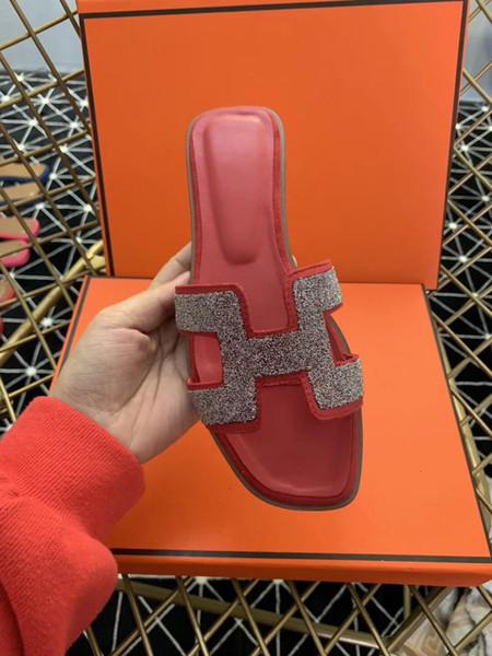 Flat Slipper Women Flip Flop Genuine Leather Oran Sandals Designer Red Diamond Platform Slipper Women Outdoor Scuffs With Box