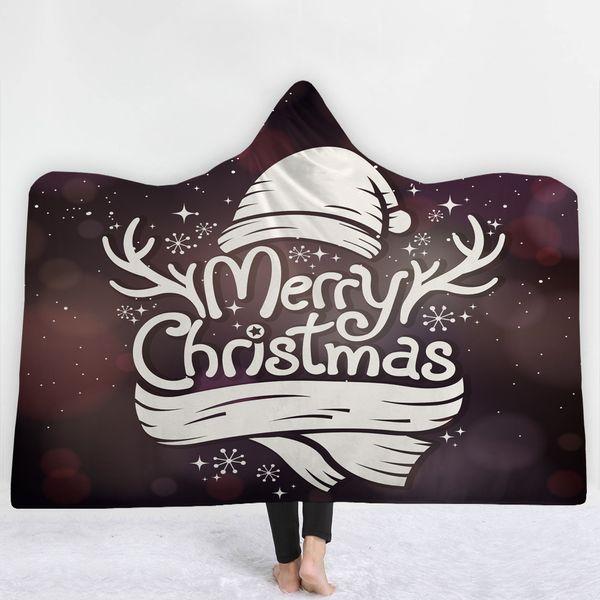 Frohe Weihnachten Decke mit Hut halten warm weich bequem Decke Brief einfachen Stil Gute Qualität Dunkelviolett