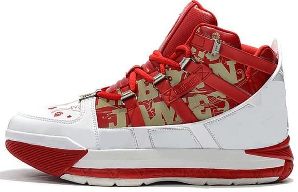 Yeni Varış # 23 Lebron Zoom III 3 Ev SuperBron Erkek Basketbol Ayakkabı Yüksek kalite Beyaz Mavi Kırmızı Siyah Lebron 3 s Spor Sneakers