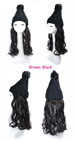 Black wig brownish black Wave Hair