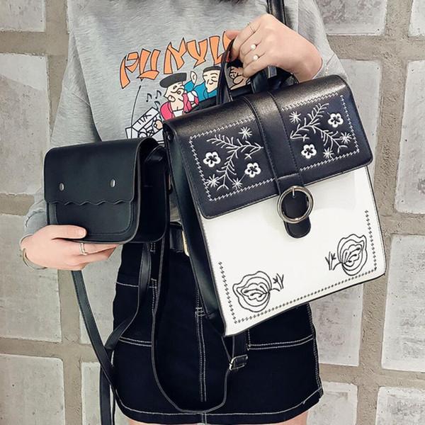 School Backpacks Style Fashion Women Backpack 2019 Pu Leather Embroidered Shoulder Bag Teenage Girl High Quality Travel Rucksack