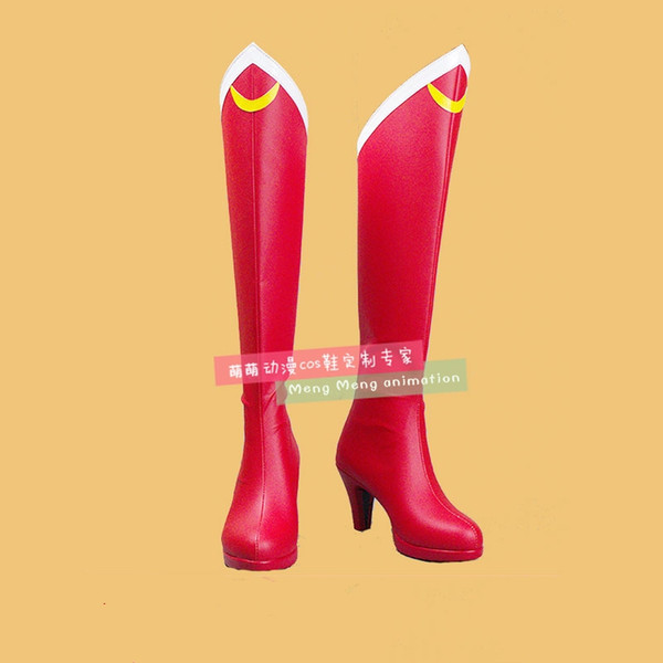 Nuevo Anime Sailor Moon Cosplay Shoes Girls rodilla longitud PU cuero Cosplay botas tacones altos Zipper-up zapatos de Halloween tamaño 35-44