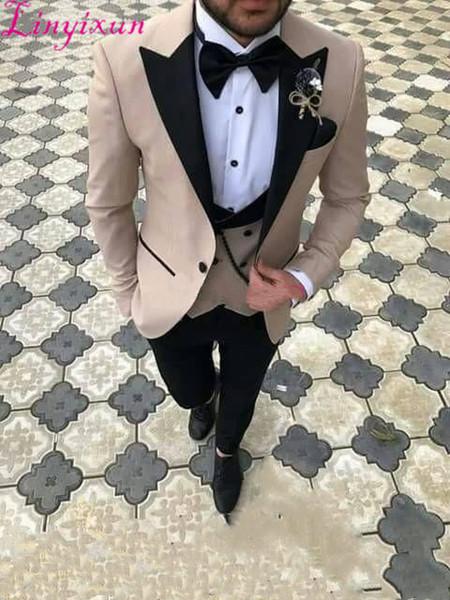 2018 Three Pieces Men Suits Slim Fit Groom Tuxedos Best Groomsmen Wedding Suit Men's Suits (jacket+pent+vest)