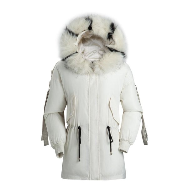2019 winter new style cotton-padded clothes large fur collar thick cotton-padded clothes korean-style plain hooded women's