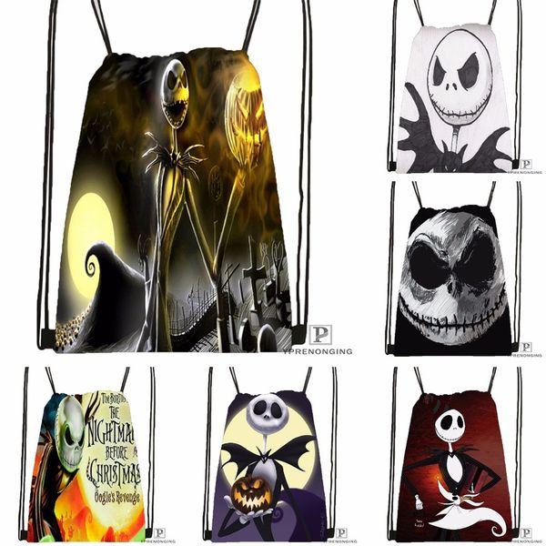 Custom The Nightmare Before Christmas Drawstring Backpack Bag Cute Daypack Kids Satchel (Black Back) 31x40cm#180531-01-47 #34085