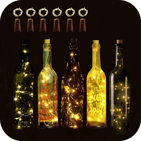 Kit de luz para garrafa de vinho com rolha em forma de cortiça 1M 10LED 2M 20LED Luzes de cortiça para garrafas de vinho Luzes de corda a fio de cobre operadas por bateria