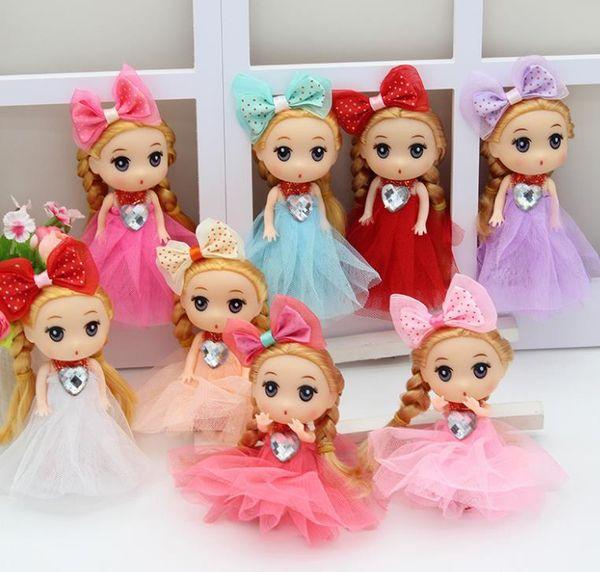 best selling Wearing dress rubber head doll Keychain pendants cute Princess Key Ring Ornament Purse Charm Children Kids Gift fashion baby dolls 12cm
