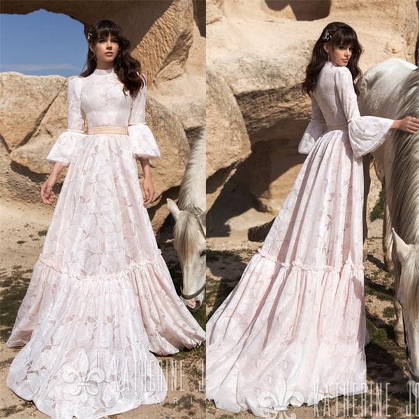 3/4 Long Sleeve Wedding Dresses High Collar A Line Wedding Gowns Sweep Train Cheap Beach Wedding Dress