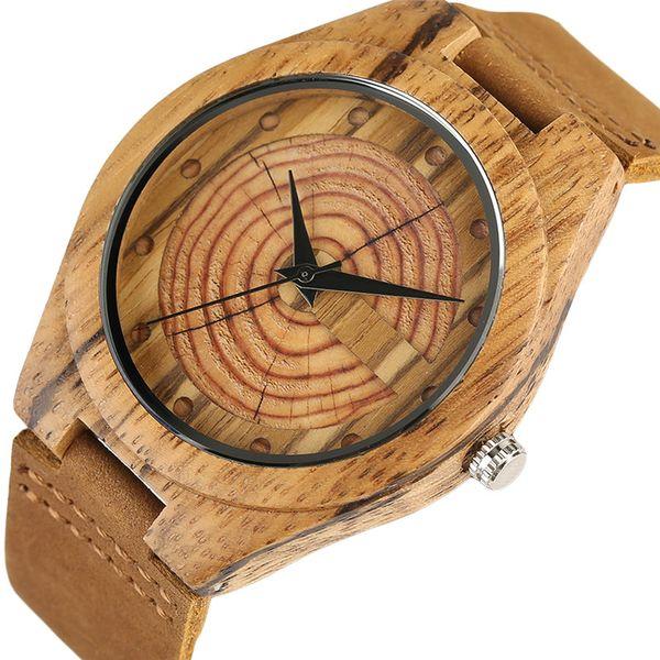 uartz Watches Men's Wood Watch Handmade Annual Rings Block Points Black Hands Men Quartz Wrist Watches Brown Genuine Leather Starp Sports...