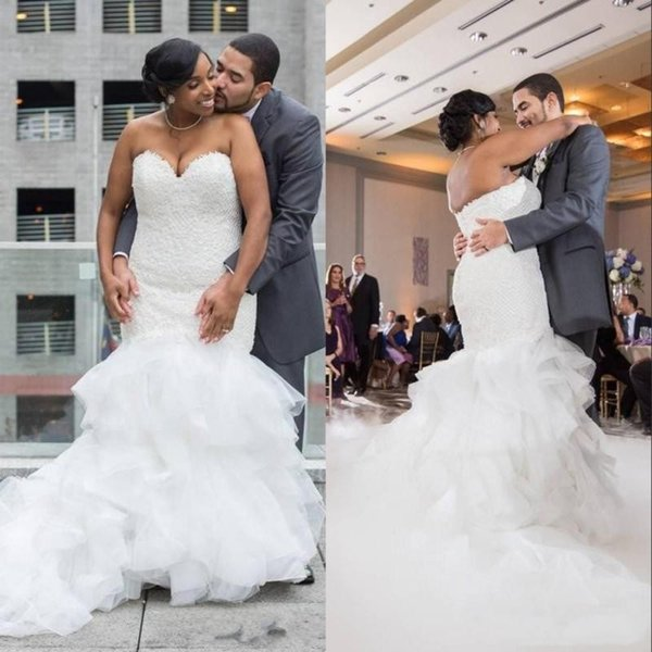 Charming African Black Girls Plus Size Mermaid Wedding Dresses 2020 Sweetheart Neck Ruffles Tiered Tulle Bridal Gowns With Lace