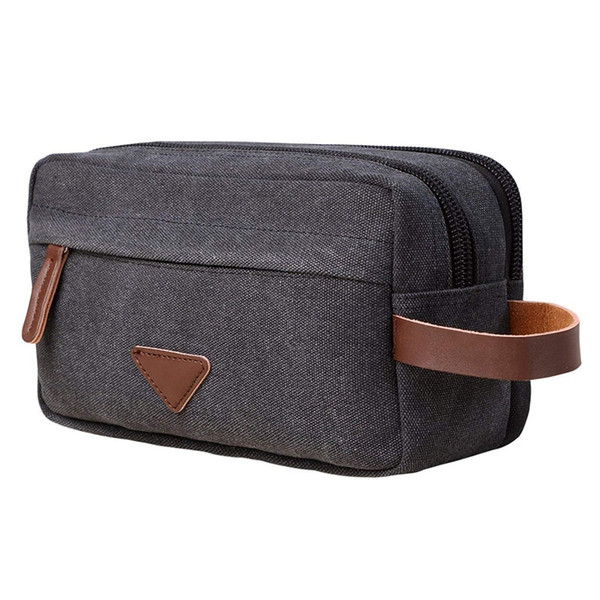 Men Travel Canvas Shaving Kits Cosmetic Makeup Organizer Women Toiletry Bag with Double Compartments Kosmetyczka Beauty Case #30006