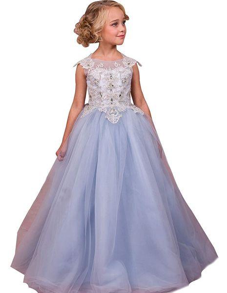 Flower Girls Dresses For Weddings Beauty Short Sleeves Mermaid Girl Birthday Party Dress Trumpet Little Girls Pageant Wear