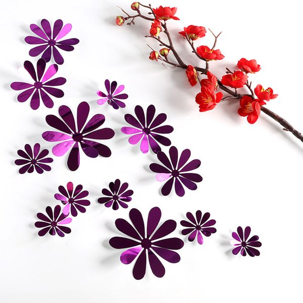 12 pcs/set New 3D mirror flower Wall Stickers Gold silver purple Party Wedding decor for Home Decorations sticker on the wall