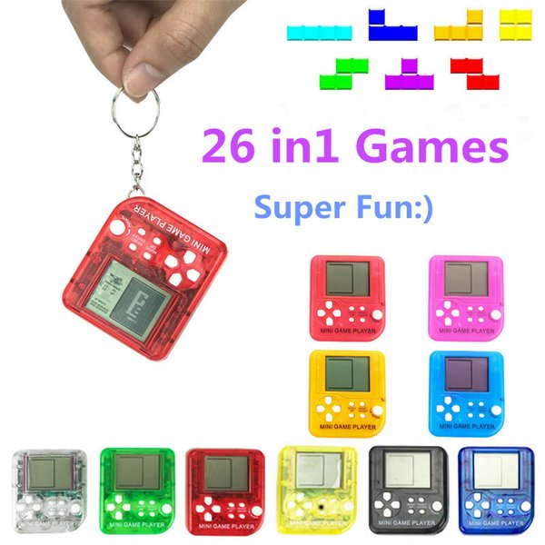 2019 Portable Mini Tetris Game Console Keychain LCD Handheld Game Players Children Educational Electronic Toys Anti-stress Keychain